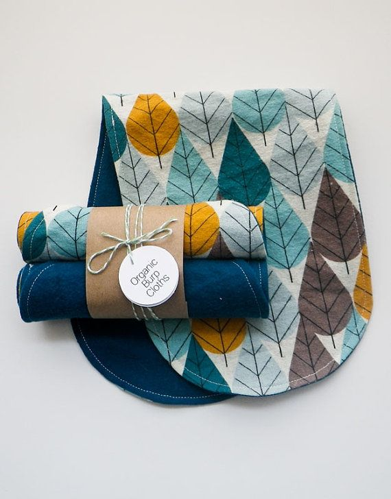 Two Organic Flannel Burp Cloths by SundayGiraffe on Etsy, $16.00