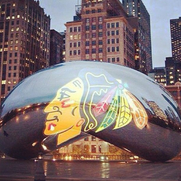The BEAN, showing Blackhawks pride!!!
