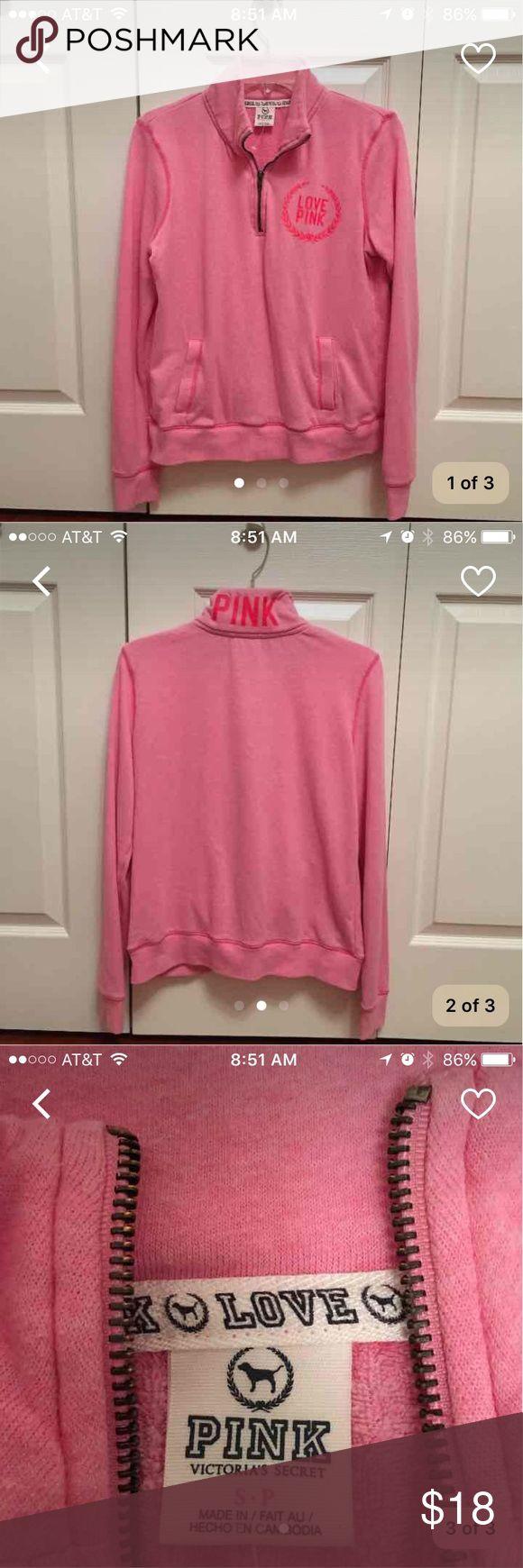 Pink zip up sweatshirt Light pink with bright pink lettering PINK Victoria's Secret Tops Sweatshirts & Hoodies
