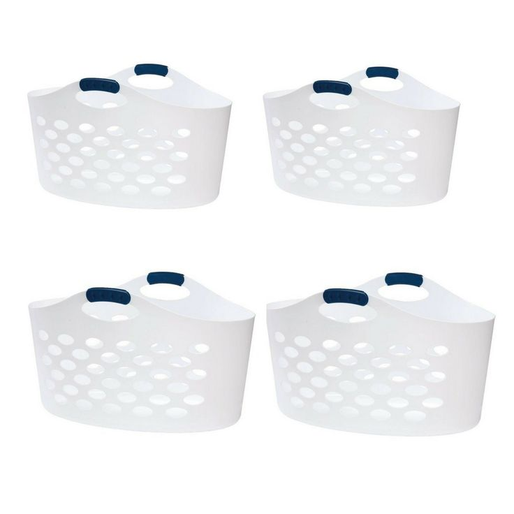 Rubbermaid Flex 'N Carry White Laundry Basket, 1.5 bushel capacity (Pack of 4)