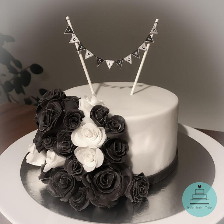 Motivtorte zur Scheidung - Scheidungstorte . Trennung . Torte zur Scheidung . Rosen . schwarz . Torte . cake . Fondant .