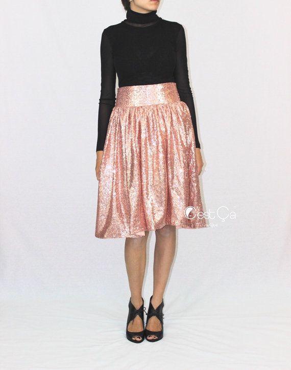 Charlotte - Blush Pink Sequin Skirt, Rose Gold Skirt, Birthday Skirt, Party Skirt, Bridesmaids Skirt, Midi Sequin Skirt