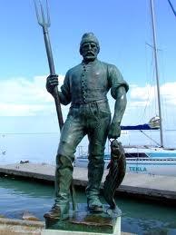 Fisherman statue, Lake Balaton, Hungary (Balatonfüred)