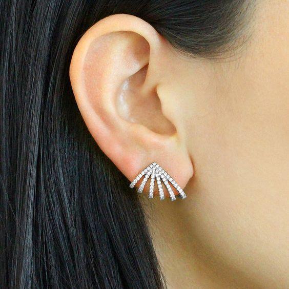 Dana Rebecca Designs - Sarah Leah Diamond Huggie Earrings, 14k White Gold.