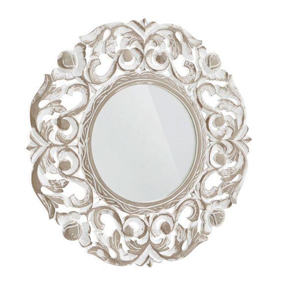 Dieser Spiegel zeigt nicht nur in der Spiegelglasfläche die Schönheit des Lebens. Der verzierte Rahmen im Stil der französischen Belle Époque ist ein besonderes Highlight in Ihrer Einrichtung. Blumen und Ornamente schmücken das Wohnaccessoire aus einer Faserplatte und Glas. Schattierungen in Braun verleihen der Oberfläche in Weiß Konturen. Mit einem Durchmesser von ca. 57 cm ist der Spiegel im Eingangs- oder Wohnbereich gleichermaßen gut aufgehoben.