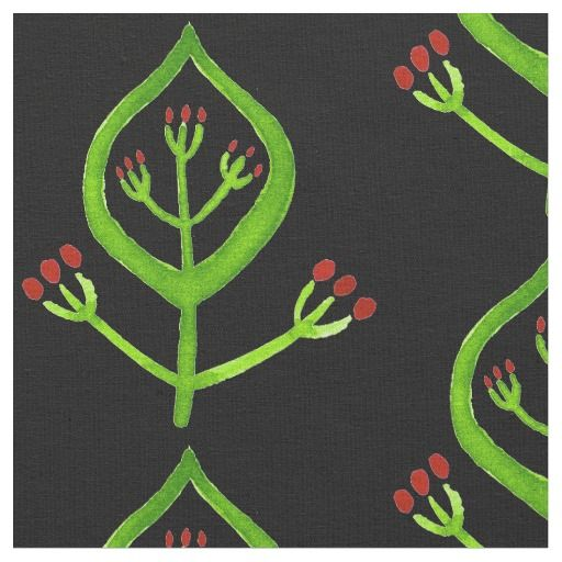 Folk Art Floral Fabric in black red and green #4