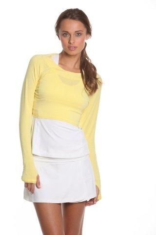SlamGlam - BloqUV Sol Eclipse Yellow Long Sleeve Top.  New yellow!  Modal top - feels like cotton and is moisture wicking.  A great layering piece.