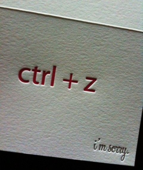 "Letterpressed ""undo"" card, neat. #design"