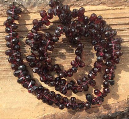 Для украшений ручной работы. Ярмарка Мастеров - ручная работа. Купить Гранат бриолет 6 - 8,5 мм капли огранка бусины камни для украшений. Handmade.