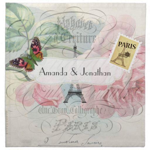 Vintage Paris Wedding Pink Rose Commemorative Cloth Napkin