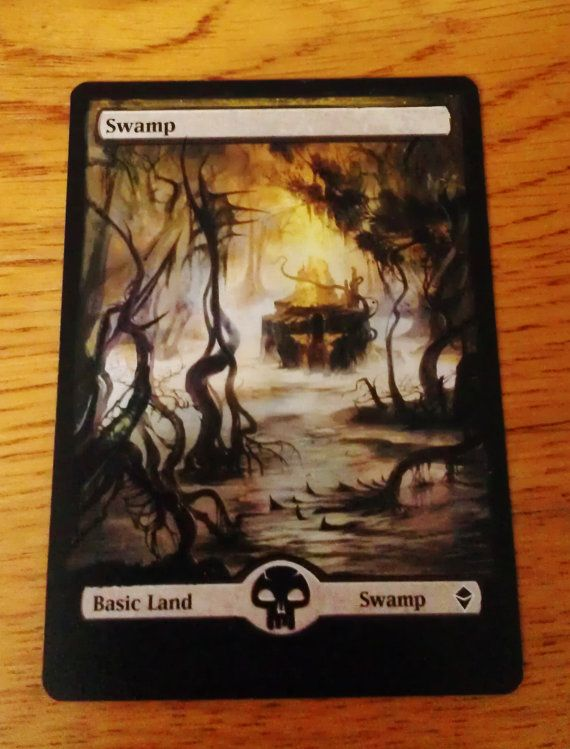 MTG altered art Zendikar basic Swamp from magic by WallqvistStudio