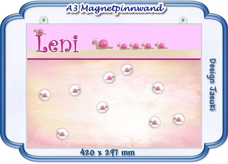 A3 Magnetpinnwand,Schnecke rosa, Magnettafel von Jasuki auf DaWanda.com