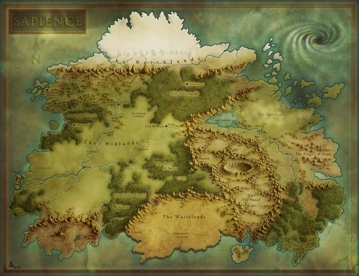 A fantasy map by Ramah-Palmer on deviantArt. I really like how clear the…