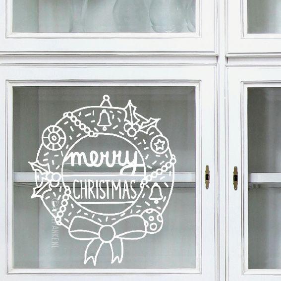 Merry christmas! Deze leuke kerstkrans #raamtekening vrolijkt je kamer op en is zó weer weg te halen met een natte lap na de feestdagen. Leuk op een raam of, als het kan, op je voordeur.