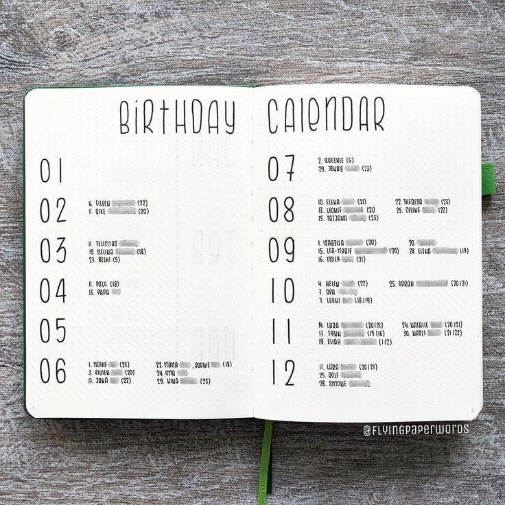 """olivias bullet journal 📖 auf Instagram: """"27/10/2018 Der Geburtstagskalender in meinem aktuellen Bujo ist super einfach, weil ich nicht viel Zeit hatte, …"""