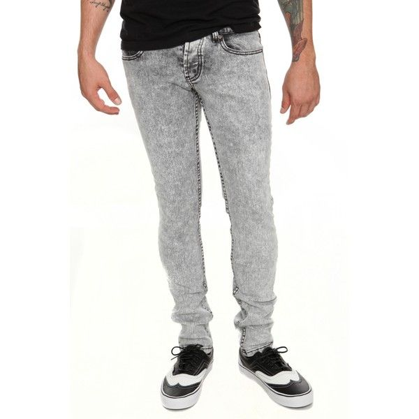 Skinny | Guys | Denim ($10) ❤ liked on Polyvore featuring jeans, hot topic, super low rise skinny jeans, denim jeans, acid wash jeans, denim skinny jeans and button fly skinny jeans