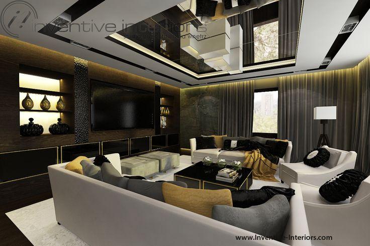 Projekt apartamentu 130m2 Inventive Interiors - ciemny nastrojowy salon - lustro na suficie