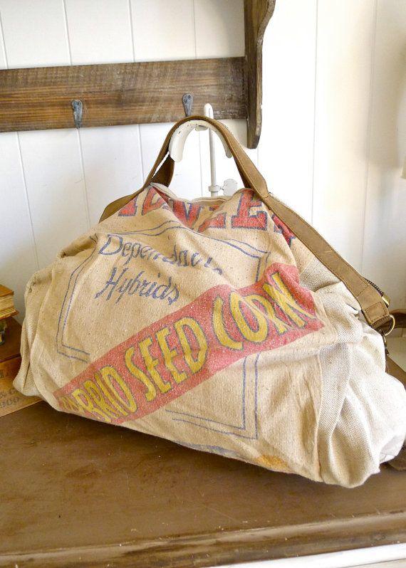 Pioneer Hybrid Seed Corn Des Moines IA  Vintage by selinavaughan, $85.00: Corn Overnight, Corn Des, Hybrid Seeds, Pioneer Hybrid, Seeds Corn, Overnight Bags, Des Moin, Pioneer Vintage, Seeds Bags