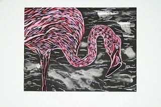 flamingirl, linocut with hand coloured watercolour & embroidery