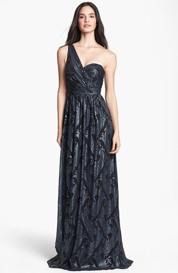 Laundry by Shelli Segal Embellished One-Shoulder Jersey Gown available at #Nordstrom
