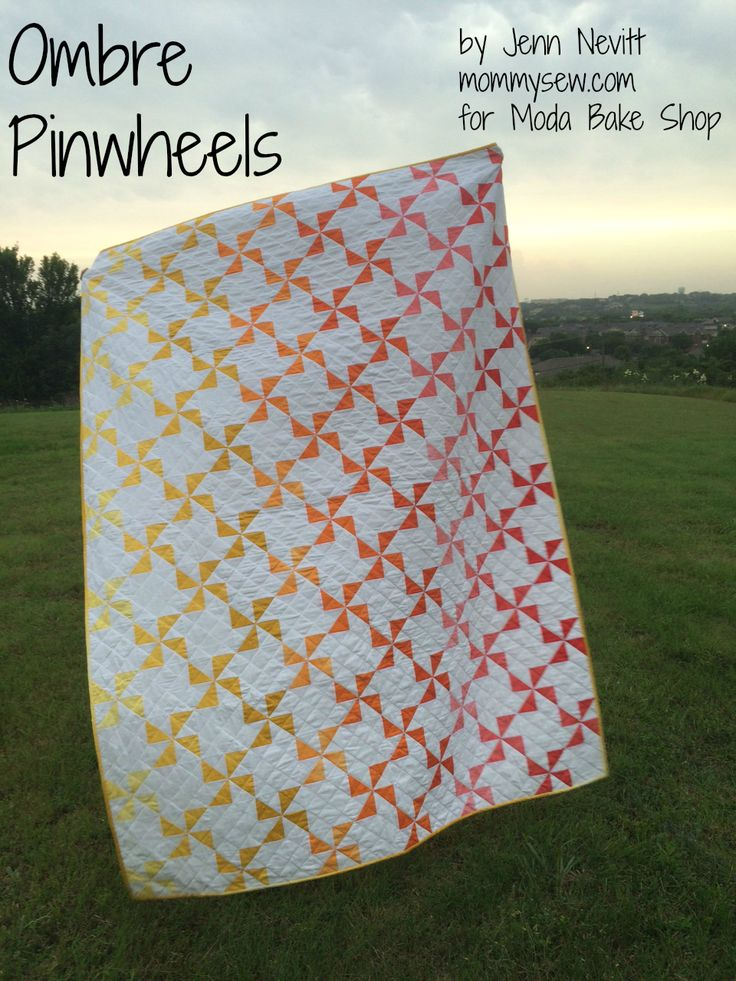 Ombre Pinwheels by Jenn Nevitt free pattern on Moda's Bake Shop.  Fabric by V & Co.
