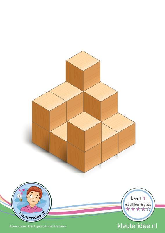 Bouwkaart 4 moeilijkheidsgraad 4 voor kleuters, kleuteridee, Preschool card building blocks with toddlers 4, difficulty 4, free printable.