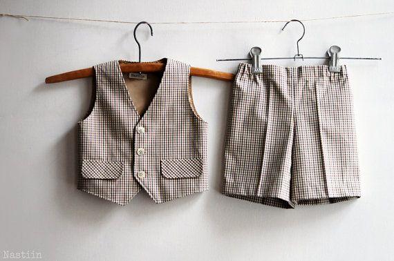 Boy formal wear set Boy baptism suit Infant vest and by Nastiin
