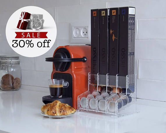 OUR HOLIDAY GIFTS SPECIAL OFFER Clear Nespresso sleeves coffee pod dispenser is a great storage solution, brilliant for keeping your favorite capsules presentable, organized and easily reachable. Our unique pod holder is an ideal companion for the Nespresso coffee pod machine, makes a great