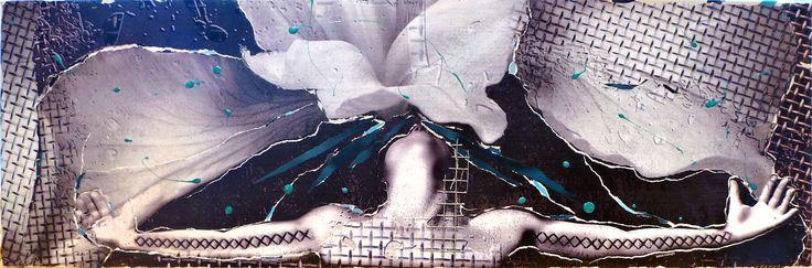 L'envol -2016- Collage sur toile 12/36 ''Sur les ailes du temps, la tristesse s'envole.'' -Jean de la Fontaine-