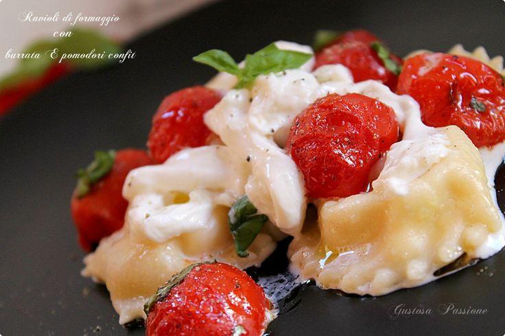 Ravioli di formaggio con burrata e pomodorini confit1