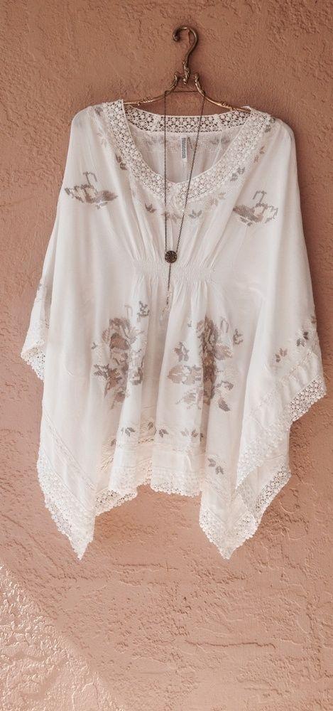 Monoreno Resort beach bohemian gypsy ivory and taupe embroidery kaftan / Bohemian Angel