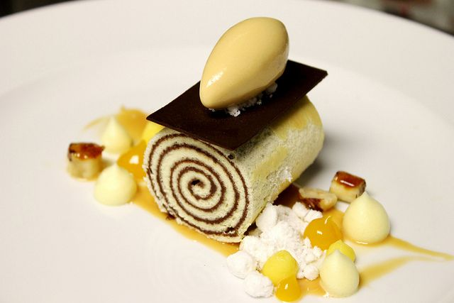 Nutella Brazo Gitano, Praline Nut Ice Cream, Bitter Orange Foam/Cremeux, White Chocolate Powder, Hazelnut Streusel by Pastry Chef Antonio Bachour, via Flickr