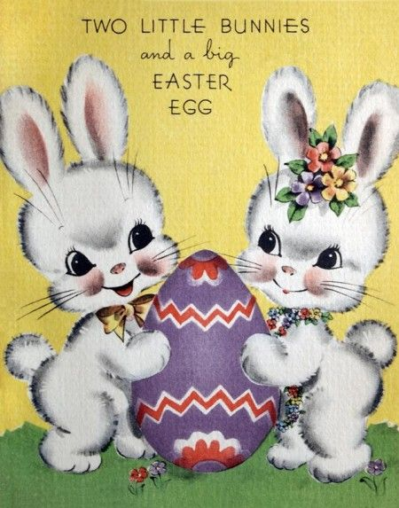 Retro Easter Bunnies on a Cute Kitschy Card @ Vintage Fangirl