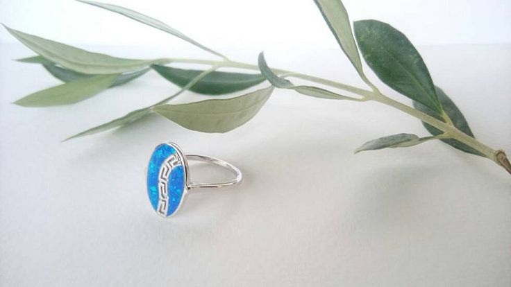 Blue opal silver ring meander ring greek key by ThetisTreasures