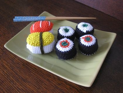 Crocheted Sushi Play Food Set