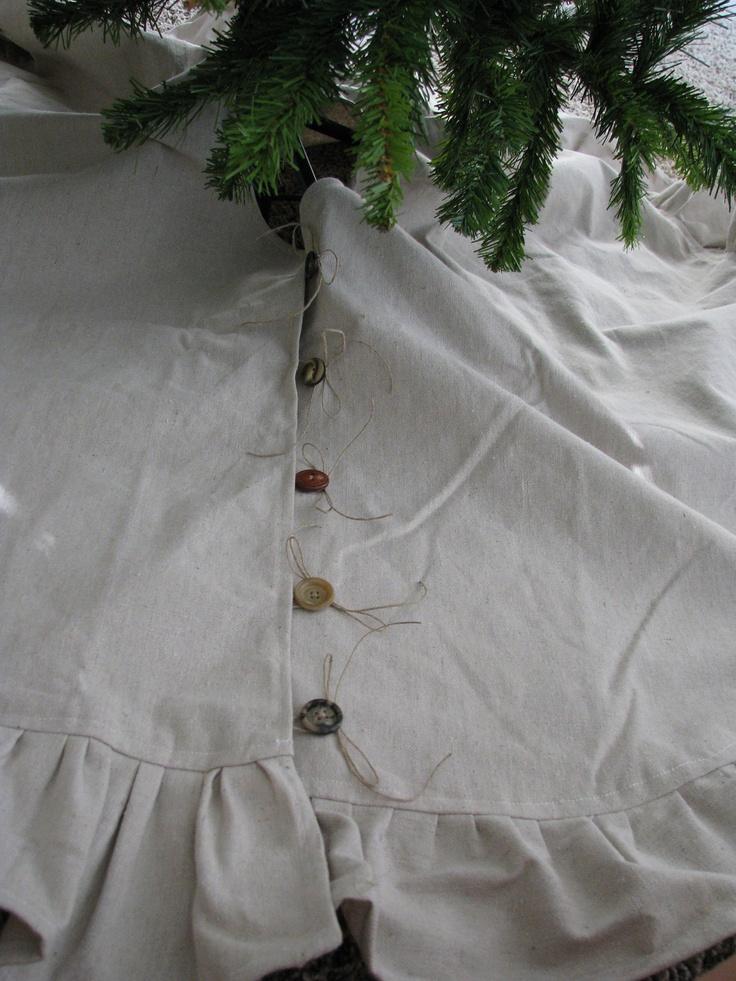 DIY something similar???  Rustic Christmas Tree Skirt. $90.00, via Etsy.