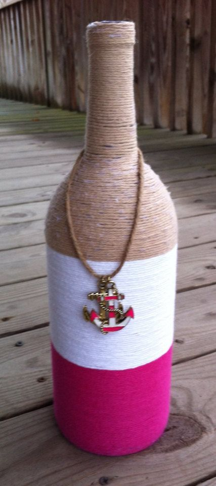 Large yarn wrapped bottle on Etsy, $10.00