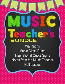 Music Teacher Stationery Super Pack - Wall Poster and Notes25 PAGESincluding:Wall SignsBook MarksMusic Class Rules SignsInspirational Quote SignsNotes from the Music Teacher (small and medium)Hall passesand more...