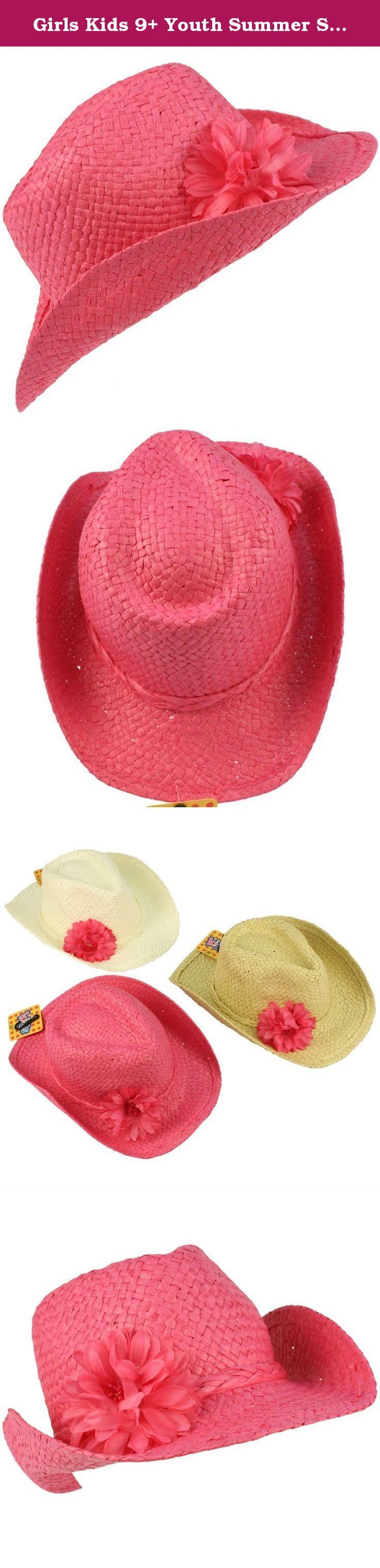 Girls Kids 9+ Youth Summer Sun Wire Brim Cowboy Flower Fedora Hat 55cm Pink. New Kids Girls Child Summer Spring Shapeable Wire Brim Light Weight Cowboy Fedora Sun Beach Hat Cap with Ruffle flower with embellishments and braided hatband. You can shape the hat to your liking, or their liking. Perfect for hot weather to keep harmful sun and UV rays out of their face. Start them early on a sun protection regimen. Or even a formal affair like weddings, Kentucky derby, how about a picnic, a...