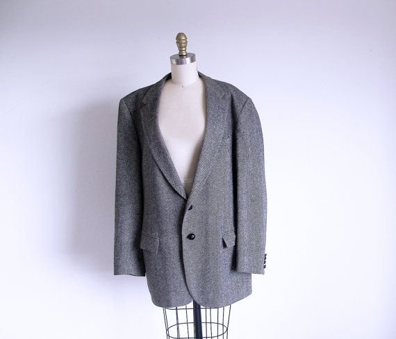 Vintage Gray Tweed Blazer Men's Gray Jacket by StraylightVintage