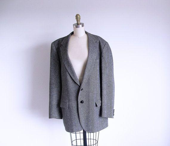 Vintage Gray Tweed Blazer Men's Gray Jacket by StraylightVintage