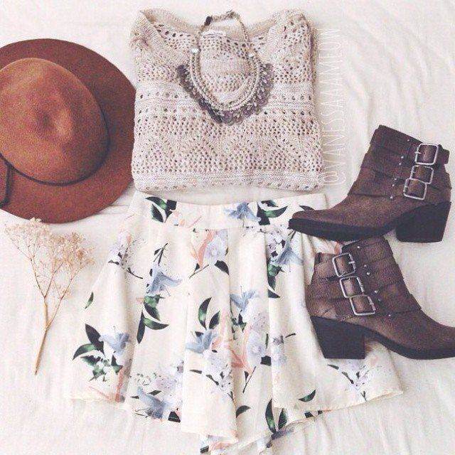 Grey Knit, White Skirt with Floral Prints, Auburn Hat, and Dark Brown Ankle Boots