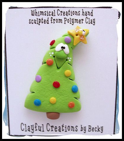 Becky's Polymer Clay  Silly Christmas Tree PIN by clayfulcreations
