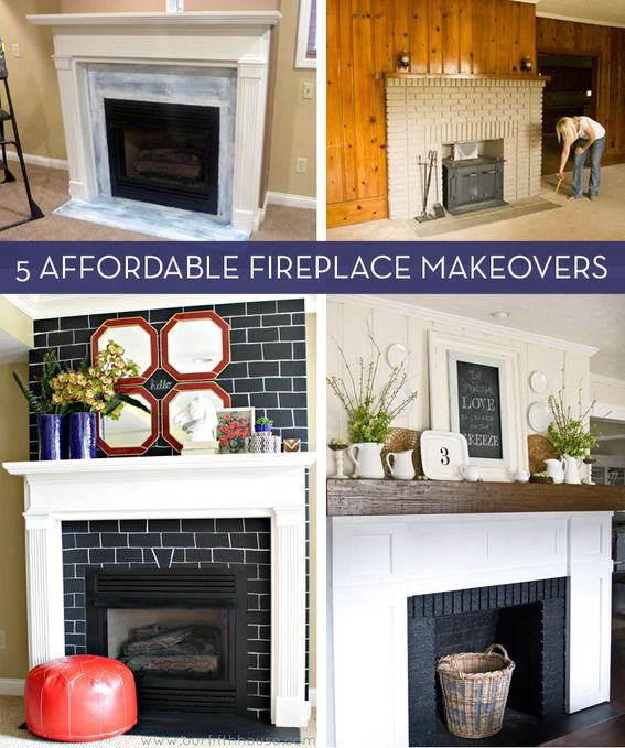 Before and after 5 budget friendly fireplace makeovers for Diy fireplace remodel ideas