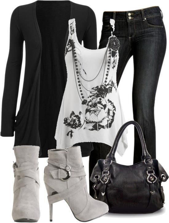 Black jean White Shirt High Heels Shoes And Black Handbag. At. http://www.fabfashionideas.com/