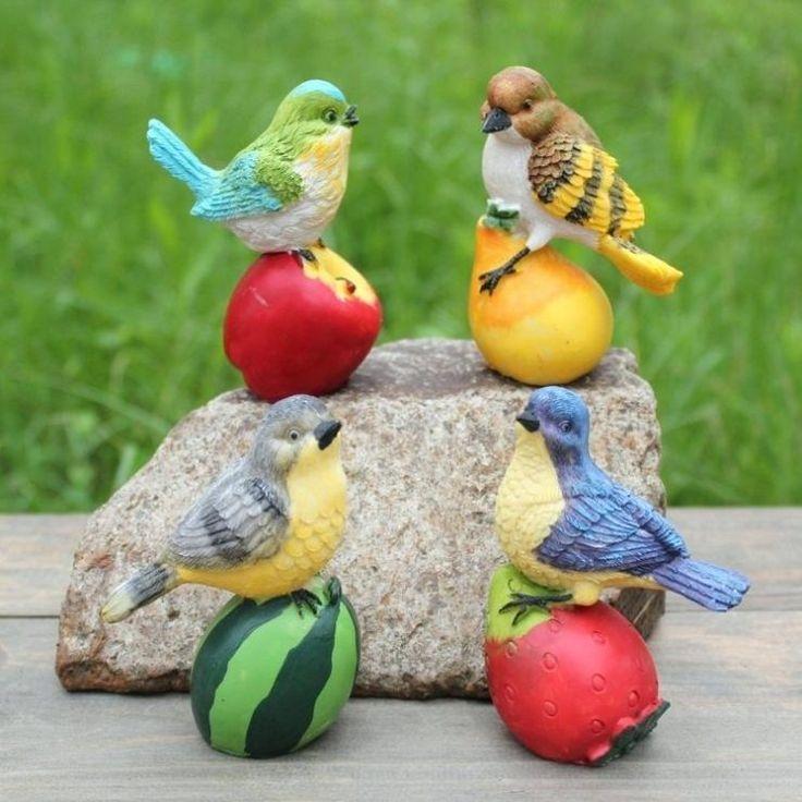 Garden Birds Statue Outdoor Artificial Bird Resin Bird 4 Pieces A Set Garden Decor Home Decor Garden Statues Birds