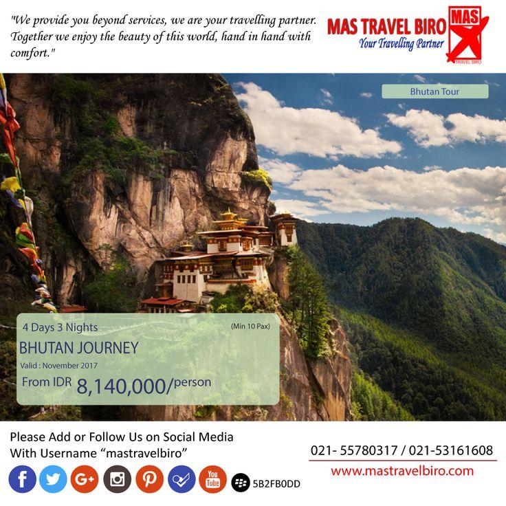 Pagi travelers Mas Travel Biro punya promo tour Bhutan Journey. 4 Hari 3 Malam dengan harga Rp 8.140.000 (Min 10 pax)  Buruan booking dan Hubungi👇 Phone : 021 55780317 WA : 081298856950 Email : tourhotel.metos@mastravelbiro.com  #mastravelbiro #promotravel #travelagent #tourtravel #Bhutan