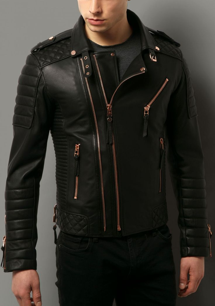 Black collarless leather jacket mens