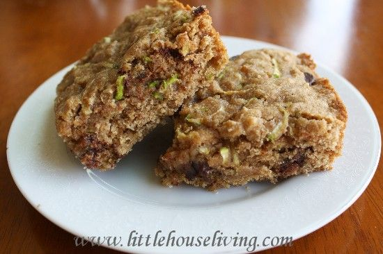 Chocolate Chip Zucchini Cookie Bars. Uses applesauce and honey.  No sugar. yummy