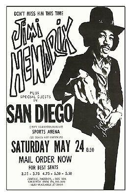 New reproduction poster of Jimi Hendrix at the San Diego sports arena 5/24/1969…